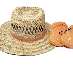 Straw hat and NWT flip flops
